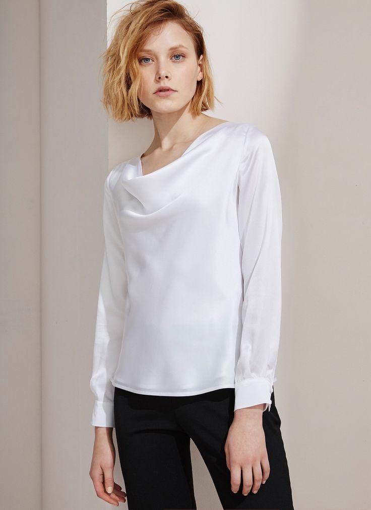Cuello de la capucha blusa de seda - Camisas y blusas | Adolfo Domínguez tienda online
