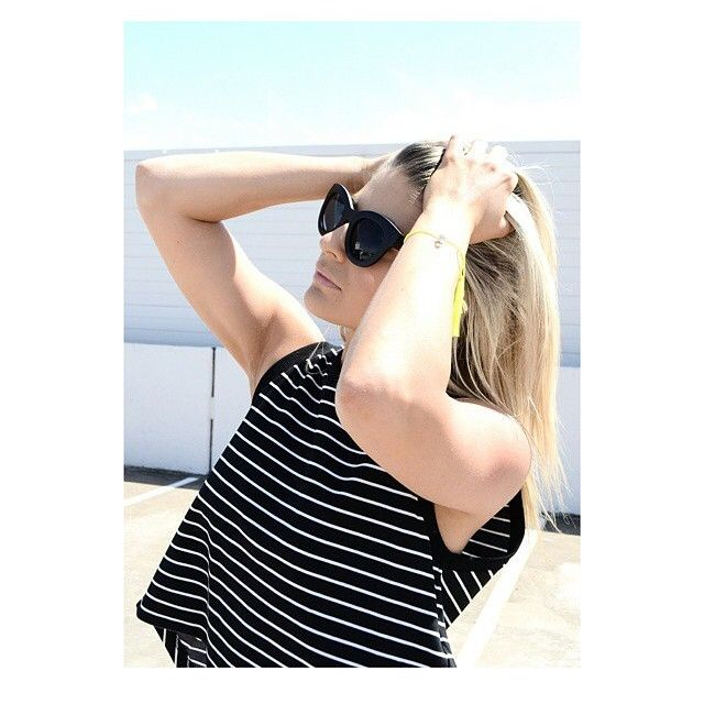 • C A L L M E T O P •  from @maryandme_boutique this easy cool little summer basic has an open back and it's only $69.95 available online and in stores www.talulah.com.au #isla #islagirl #weekends #stripes #basics