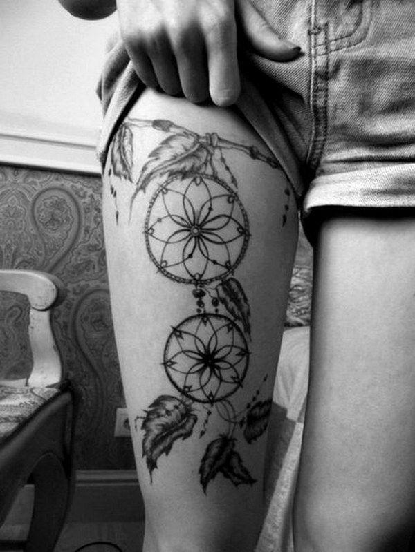 Dream Catcher Leg Tattoo Design.
