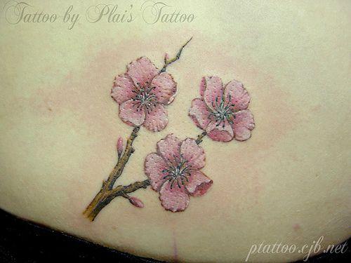 Sakura tattoo by Plai's Tattoo by plaitattoo, via Flickr