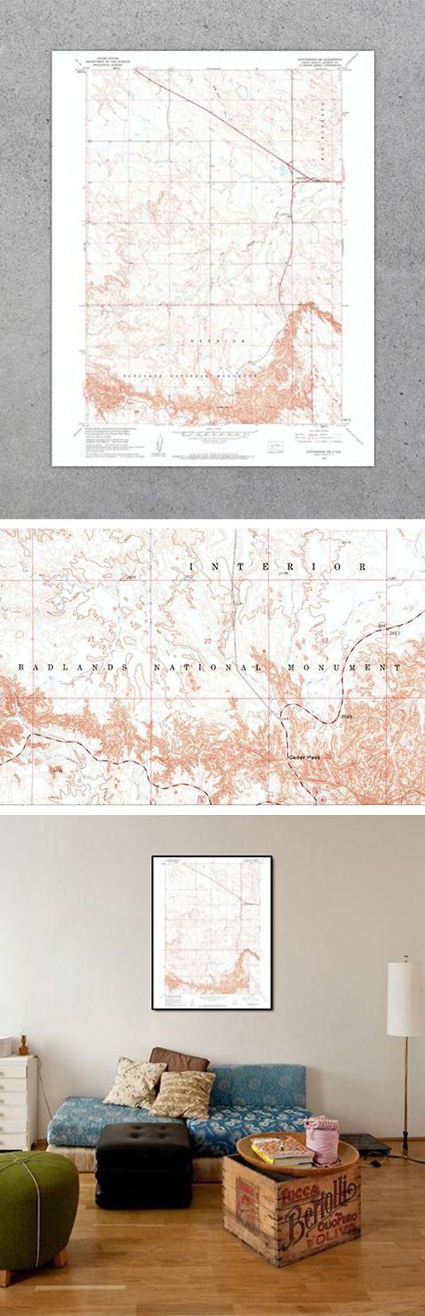 Badlands National Park 1960 USGS Map Mejores
