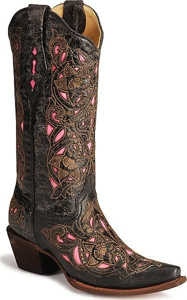 Place to buy these Corral Distressed Pink and Black Ladies Boots -- http://www.outbackleather.com/corral-distressed-pink-and-black-boot.html
