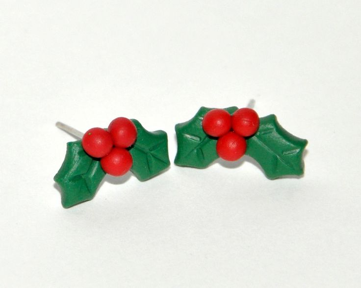 Christmas Holly Stud Earrings - Tiny Cute Earrings for your Xmas Presents - Available for sensitive ears too! by AColorfulMind on Etsy