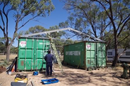 steel rafter frame attached to shipping container shed diy built                                                                                                                                                      More