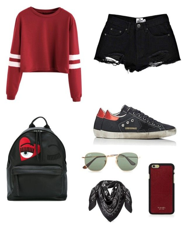 Red Velvet. by anmari29 on Polyvore featuring polyvore, fashion, style, Boohoo, Golden Goose, Chiara Ferragni, Vianel, MCM, Ray-Ban and clothing