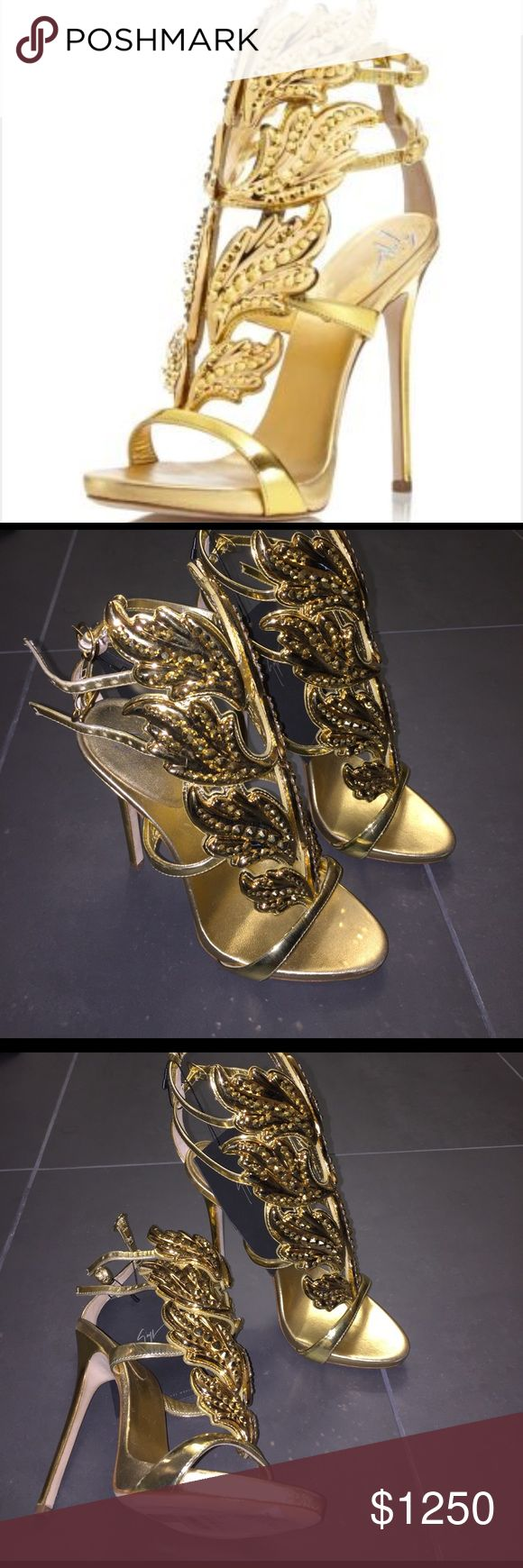 Giuseppe Zanottii Coline Cruel Embellished Wing 💫 Brand new!!! Beautiful gold Embellished iconic Giuseppe heels. $2125 retail. In stores now. No box or dustbag. Giuseppe Zanotti Shoes Heels