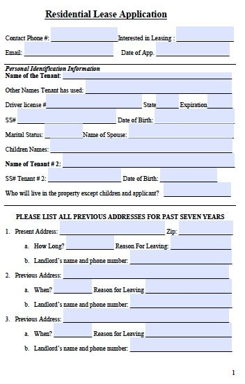 printable sample rental application template form