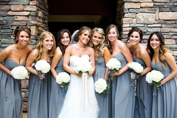 GORGEOUS long grey bridesmaid dresses #napawedding