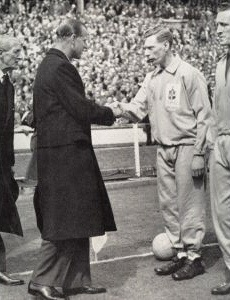 FA Cup Final 1959 Luton Town v Nottingham Forest Sid Owen, Lutons captain, being presented to HRH Prince Philip