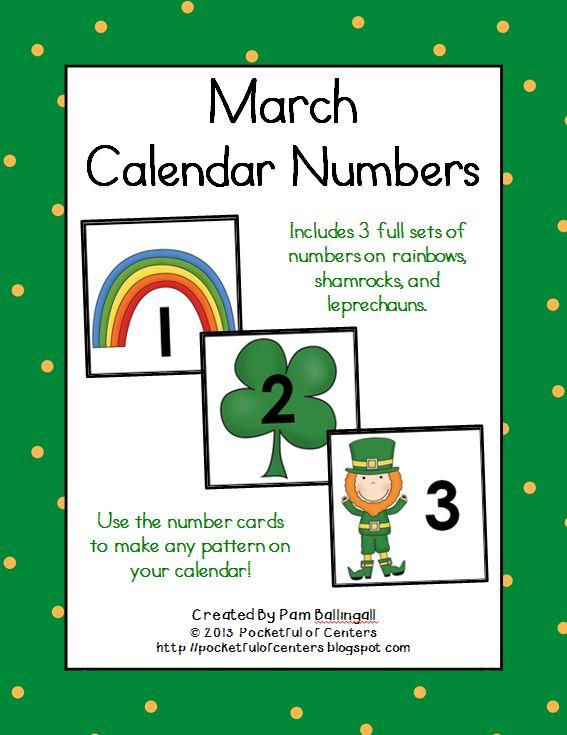 Kindergarten Calendar Numbers : March calendar numbers