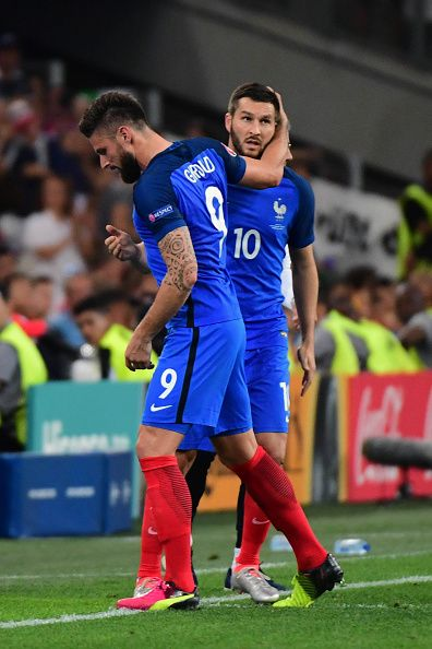 #EURO2016 Olivier Giroud of France is replaced by Andre Pierre Gignac of France during the Uefa Euro Semi final between France and Germany at Stade Velodrome...