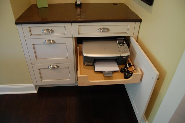 A Printer Hidden Inside A Cabinet For A Kitchen Desk Area