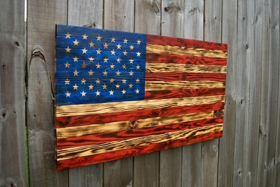 Wooden American Flag Large American Flag Garage Decor Man Cave Rustic Flag Wood Burned Flag Charred Wood Flag Wall Art Patio Decor Americanflagart Wood
