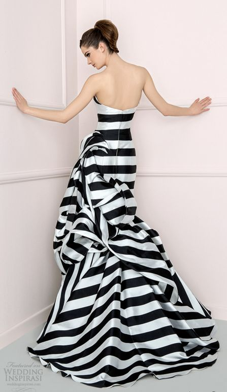 Striped Wedding Dress/ Printed Wedding Dress || Antonio Riva