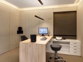 swopper schreibtisch holz schr nke beleuchtung akustikdecke einrichtung h rakustikstudio. Black Bedroom Furniture Sets. Home Design Ideas