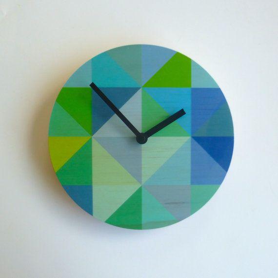 Objectify Grid Blue-Green Plywood Wall Clock - Medium Size
