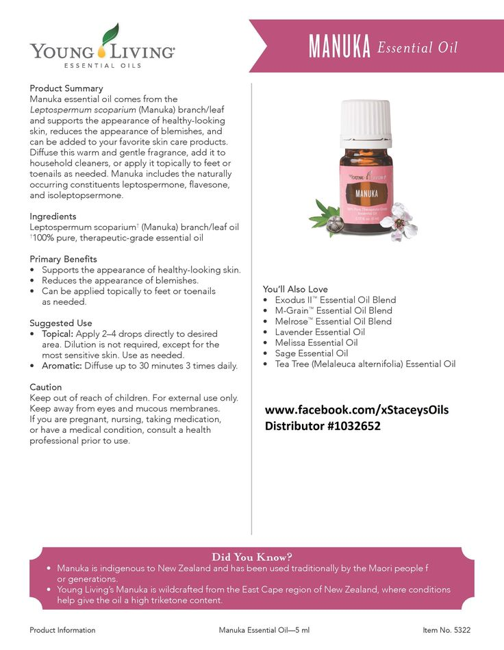 Young Living Essential Oils - Manuka - Learn more about Young Living Essential Oils and how they can support your health – contact me! www.facebook.com/xStaceysOils Distributor# 1032652