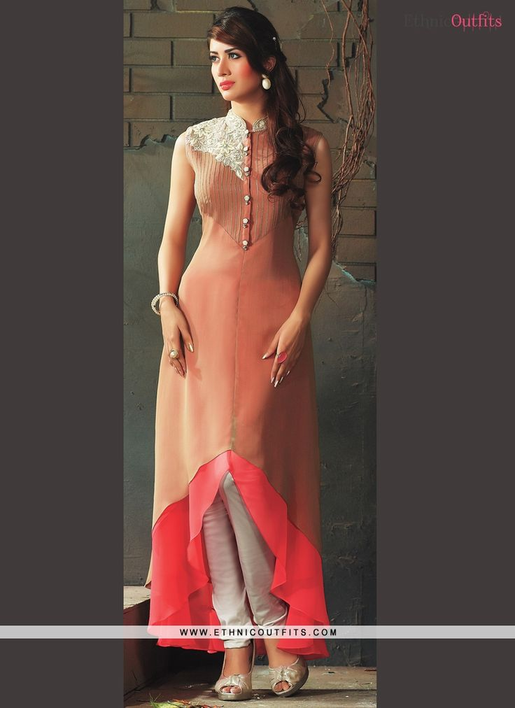 Titillating Embroidered Work Peach Viscose Party Wear Kurti