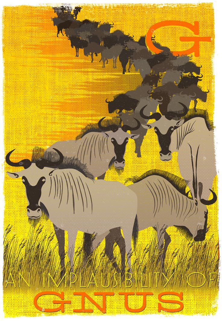 An Implausibility of Gnus. Collective Noun Posters from