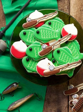 Fishing Cookies - easy Cut Out Sugar Cookies Decorated with Royal Icing   The Bearfoot Baker    #bearfootbaker #edibleart #rolloutcookies #cutecookies #animalcookies #royalicing #delicioustreats #cutetreats #cookiesforalloccassions