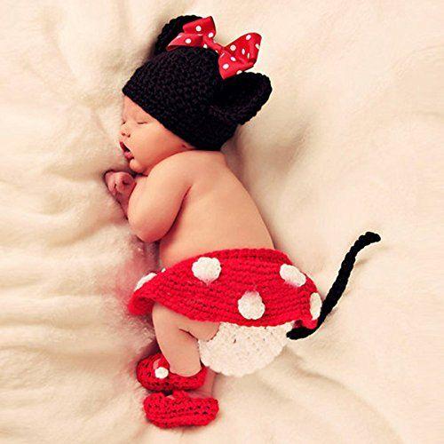 Museya Cute Cartoon Maus Style Baby Kleinkinder Neugeborenen Hand gestrickte häkeln Hut Kostüm Baby Fotografie Requisiten Set