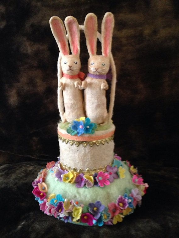 Sweet rabbit centerpiece spun cotton by Maria by MRCROWSGARDEN, $79.99