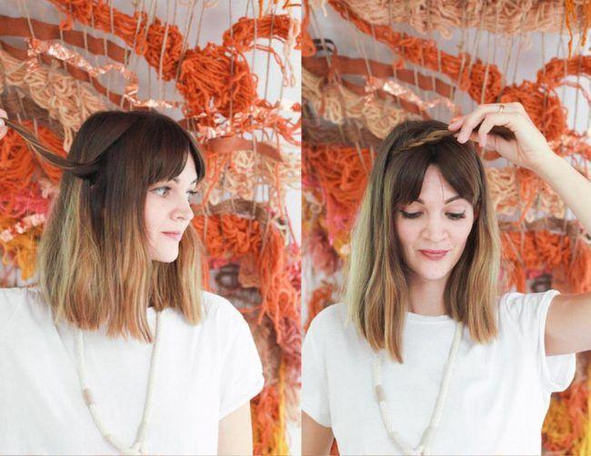 Прическа ободок из кос. Шаг 1-2