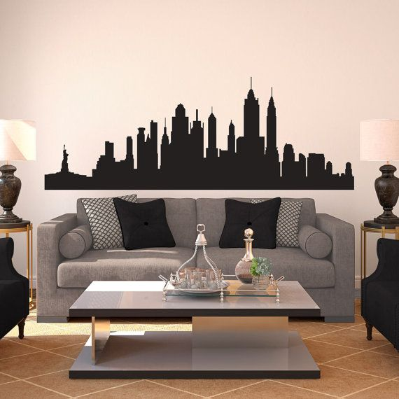 New York City Skyline Silhouette (Large)   Wall Decal Custom Vinyl Art  Stickers On