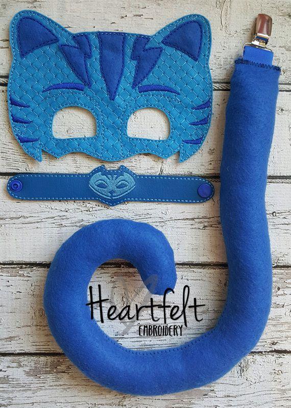 PJ Blue Bedtime Hero Mask Tail and Bracelet by TreasuredForever