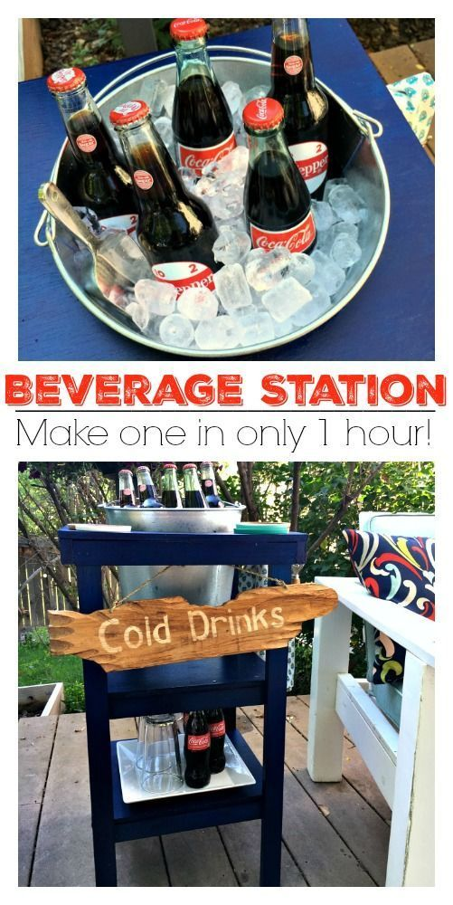 Home Decorating DIY Projects  :     Make your own beverage station for your patio with this easy DIY tutorial!    -Read More –   - #DIY https://decorobject.com/diy/home-decorating-diy-projects-make-your-own-beverage-station-for-your-patio-with-this-easy-diy-tutorial/