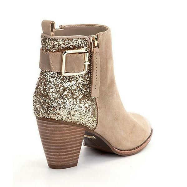 Fashion Casual Stitching Sequins Short Tube Thick Heel Women Boots – shoes