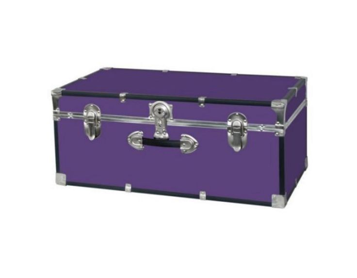 Footlocker Trunk College Storage Camp With Lock Purple Chests Box #MercuryLuggage