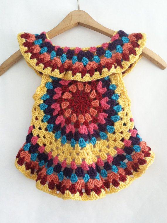 Crochet PATTERN for Toddler Mandala Vest Girls by VanDruDesigns