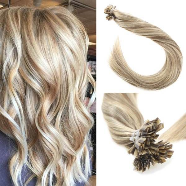 Flat Keratin Tip Golden Blonde Highlighted Fusion Hair Extensions