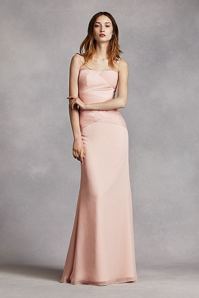 White by Vera Wang - MORE COLORS NEW! - Long Crinkle Chiffon Column Gown with Sash Style VW360242 In Store & Online $189.95