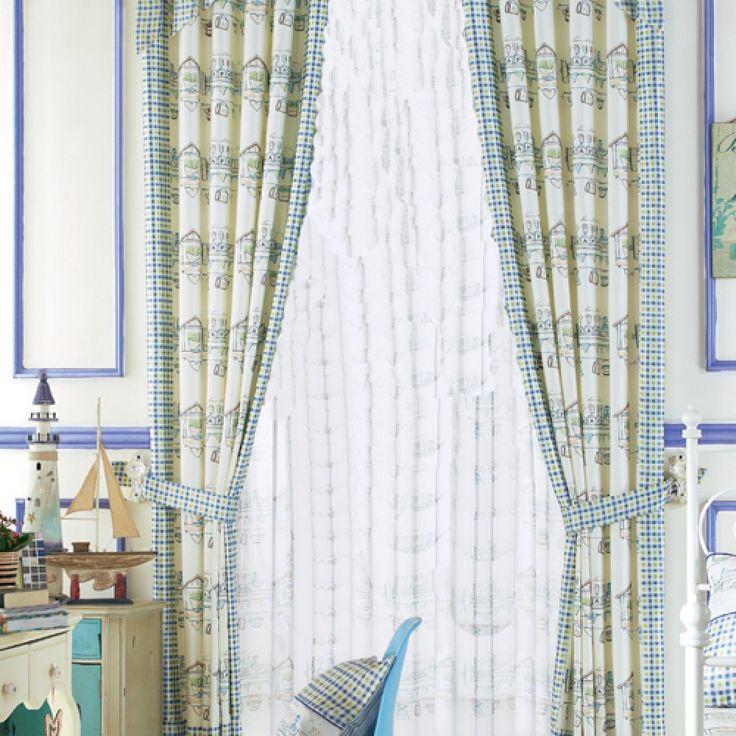 Mediterranean Blue, Green, Off-white Novelty  Curtains   #curtains #decor #homedecor #homeinterior #green
