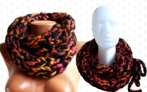 Hand Knitted Multicolor Infinity Scarf /Chunky Cowl by SimArtShop