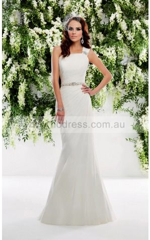 One Shoulder Sweep Train Chiffon Natural Buttons Wedding Dresses gqcf1002--Hodress