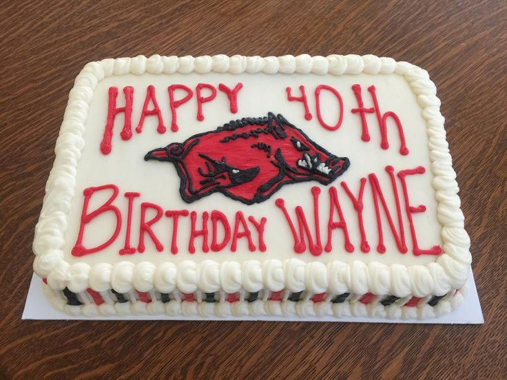 Wooo Pig Sooie! This Arkansas Razorback cake was for Wayne's 40th birthday celebration! It's a 1/4 sheet strawberry cake with cream cheese frosting. Taste and see that the Lord is good! Thanks for allowing me to serve you!!