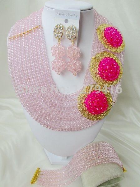 Ювелирных украшений модные и популярные свадебные украшения в нигерии, Африка бусины комплект, Невесты кристалл ожерелье браслет принадлежности A205