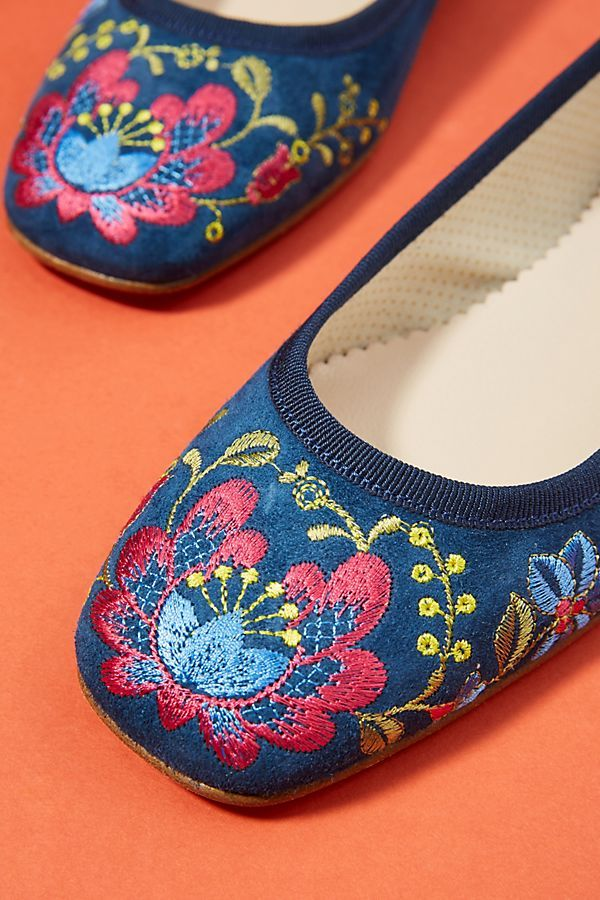 a92f733cd289 Ballerina Embroidered Ballet Flats in 2018