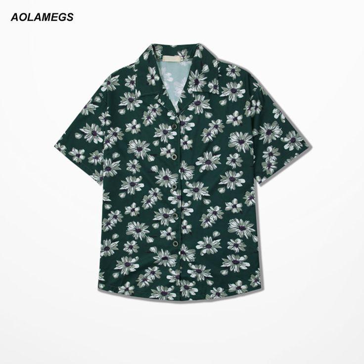 Aolamegs Mens Short Sleeve Hawaiian Shirt Summer Fashion Breathable Cotton Casual Floral Shirts Hotel Men Beach shirt Leisure #Affiliate