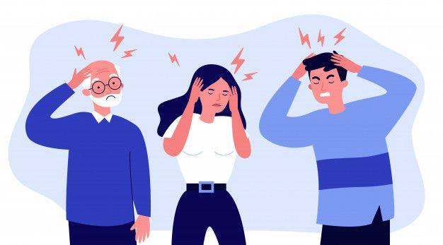 Stressed People Suffering From Headache Ilustrasi Karakter Ilustrasi