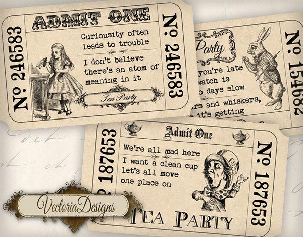 INSTANT DOWNLOAD Alice in Wonderland Tea Party Invitation Tickets printable images digital collage sheet 387. $2.95, via Etsy.
