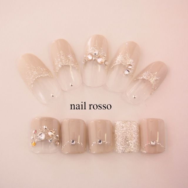 Ou so pretty nude bling nails