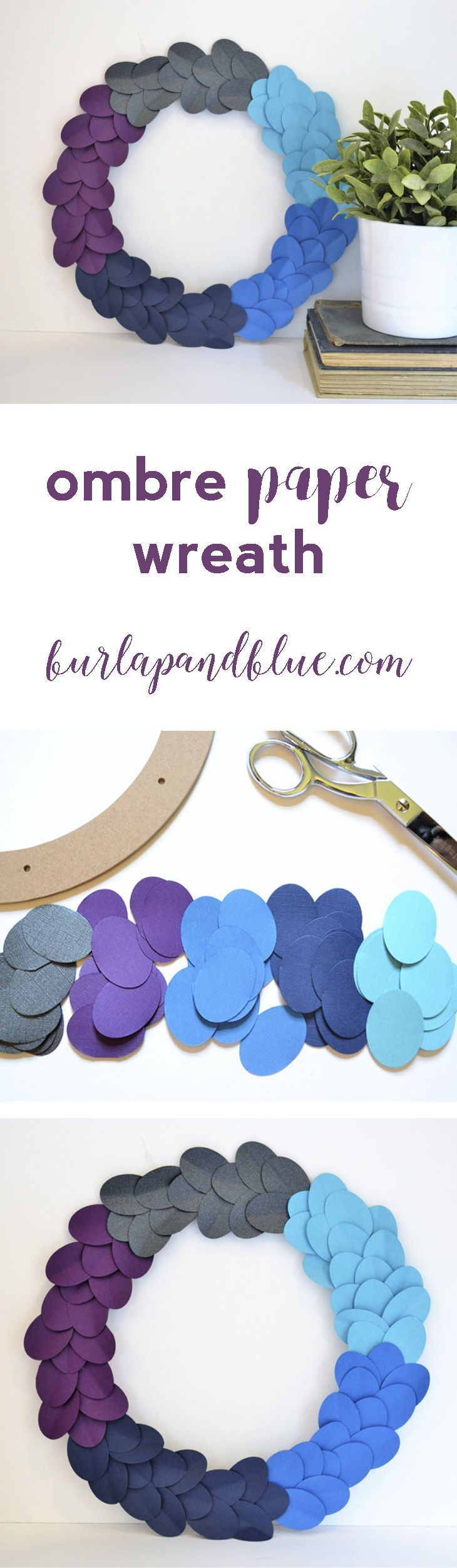 a fun ombre paper wreath tutorial in shades of purple, gray, turquoise, and navy blue! #FallIntoClean #ad