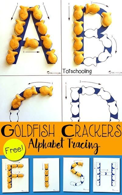 FREE printable Alphabet tracing sheets that go along with Goldfish crackers! Practice letter recognition and letter formation, along with making words and names.