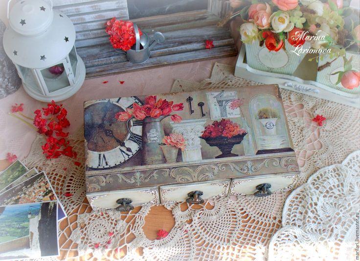 """Купить Комодик """"Шарм"""". - комбинированный, прованс стиль, прованс интерьер, натюрморт, изящный подарок, тюльпаны"""