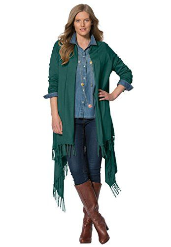 Womens Plus Size Cascade Front Cardigan Emerald Green2X *** You can get more details by clicking on the image.
