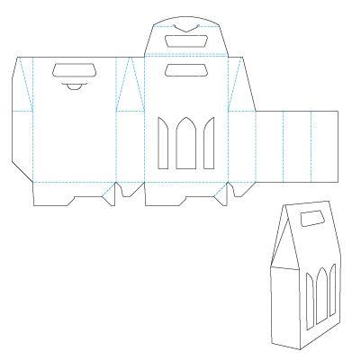 Дизайн упаковки: Выкройка Коробка «Чемоданчик» для трех бутылок вина